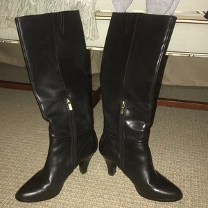 Tall Black Leather Heel Boots
